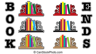 Bookend icons - Stylized icons of books with bookends. EPS...