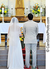 groom and bride - Wedding ceremonies in church. groom and...
