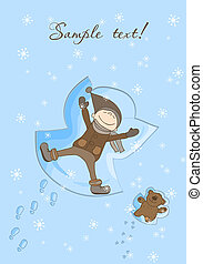 Happy Boy Making a Snow Angel Xmas Card