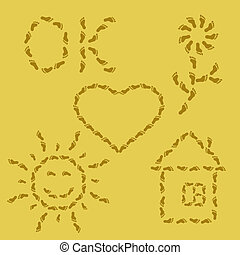 Symbols from traces on sand - Vector, set, various symbols...
