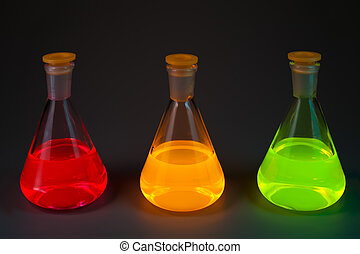 Fluorescence in three flasks - Chemical flasks with the...