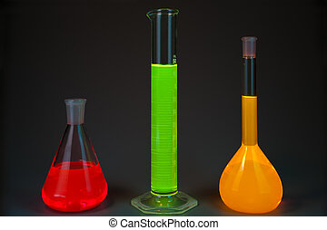 Fluorescence in flasks - Chemical flasks with the liquids,...