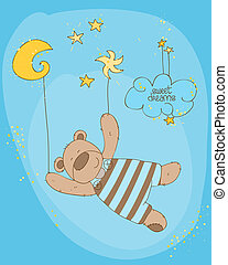 Sleeping Baby Bear Cute Card