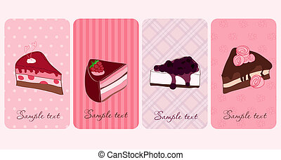 Set of Banners with Sweet Cakes