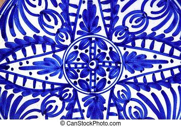 pintado, azul, cerámica, formas, placa