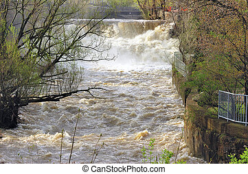 Waterfalls Spring Flood - Spring flooding Waterfalls at Glen...
