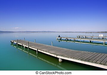 Albufera Valencia lake wetlands mediterranean Spain wooden...