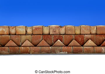 bricks roof eaves Mediterranean architecture detail...