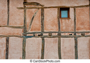 Wooden Beams - Pink Wall Spanish House with Wooden Beams and...