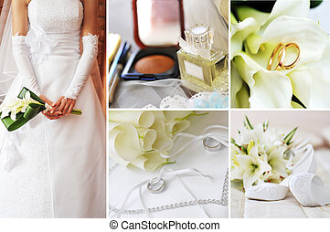 collage, cuadros, diferente, boda