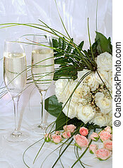 champagne and roses - champagne and white roses