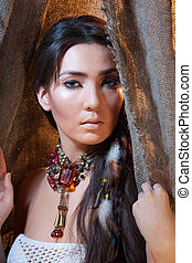 American Indian beauty - Beautiful woman with long hair...