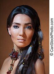 portret, amerykanka, indianin, kobieta