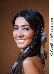 uśmiechanie się, indianin, amerykanka, kobieta