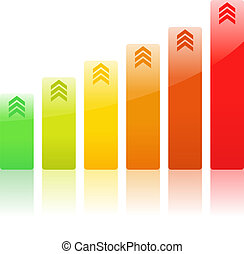 Vector Bar Graph - Vector Rising Bar Graph with Arrows