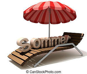 Sommer - 3d image, table, beach umbrella and summer text