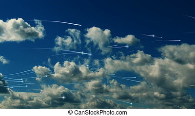 Clouds with flying asterisks