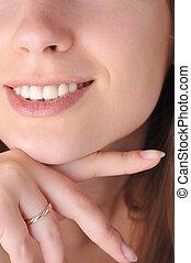 woman face close up - young woman face close up