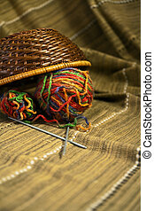 Colored yarn ball