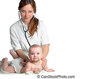 nő, Orvos, Vizsga, csecsemő, Sztetoszkóp