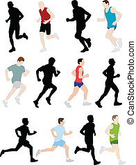 marathon runners - vector illustration