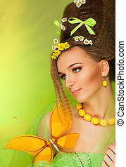 Beauty portrait with big butterfly - Beauty portrait of...