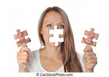 young woman with two puzzles