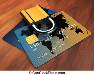 Credit cards and padlock on wooden table, 3d illustration
