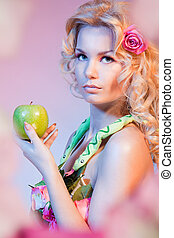 Eva with apple - Bible Eva woman holding green apple