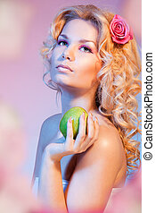 Idyllic Eva with green apple - Beauty shoot of Idyllic Eva...