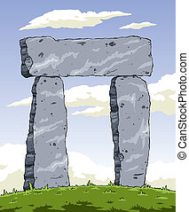 Stonehenge - Cartoon ancient structure of stone, vector...