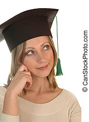 young girl with bachelor cap thinking