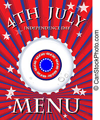 Fourth July - Independence Day Menu template - bottle cap on...