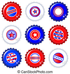 Stars & Stripes bottle caps. USA Fourth of July emblems....