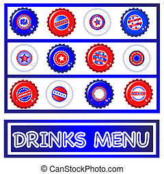Bottle tops Fourth July Drinks menu