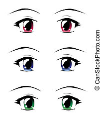 Manga eyes - A set of eyes in manga style, isolated on white...