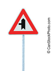 Crossroads Warning Main Road Sign With Pole Left, isolated