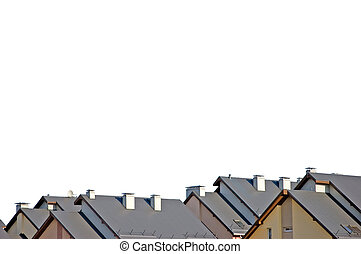 Detailed Rowhouse Roofs Panorama Isolated - Rowhouse roofs...