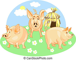 vector three little pigs - Three Little Pigs from a green...