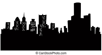 Cartoon Detroit - Cartoon skyline silhouette of the city of...