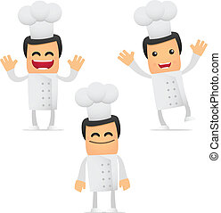 set of funny cartoon chef in various poses for use in...