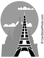 Paris - Eiffel tower - vector
