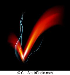 Smoking Flame Checkmark - An image of a smoking flame...