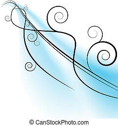Flowing Wind Swirls - An image of a flowing swirls on a blue...