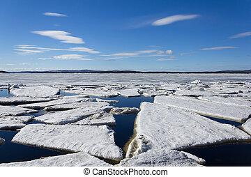 mer, glace, détruit, Printemps