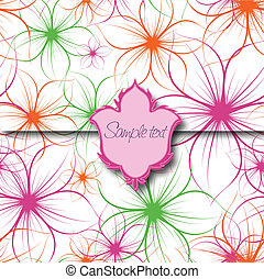 Flower Background with Label Vector - Flower Background with...