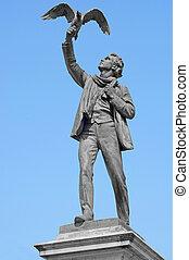 Statue of the flemish writer and poet Albrecht Berten...