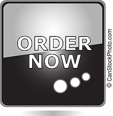 ORDER NOW black web button isolated on white