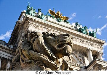 stone lion guard - stone lion sculpture guarding vienna's...