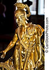 male greek warrior, bronze statue - bronze statue of a male...